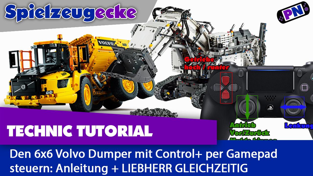 LEGO® VOLVO  Dumper Gamepad Anleitung + LIEBHERR R9800 Bagger per Gamepad steuern – GLEICHZEITIG! (Tutorial)